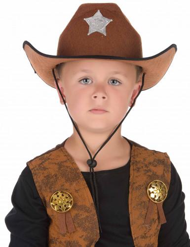 Chapeau sheriff marron pour enfant-1