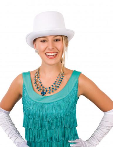 Chapeau haut de forme blanc adulte
