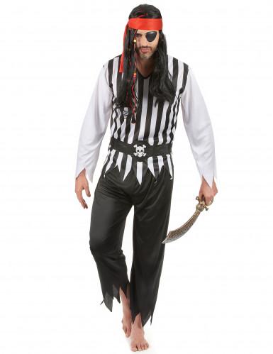Déguisement pirate rayé noir et blanc homme
