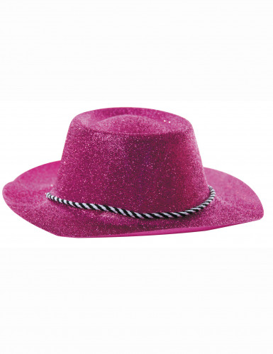 Chapeau cowgirl rose à paillettes adulte