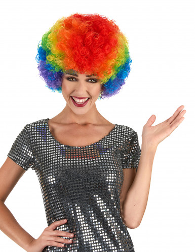 Perruque afro multicolore confort adulte