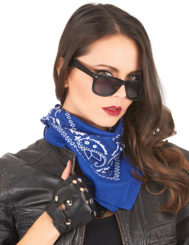 Bandana biker ou cowboy bleu -1