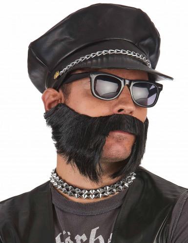 Casquette noire motard adulte-1