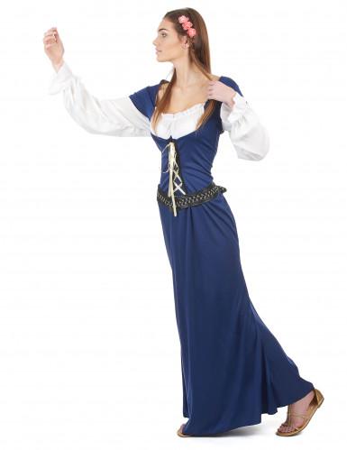 Déguisement Bavaroise robe longue bleue Femme-1