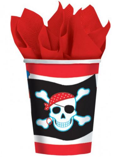 8 Gobelets en carton motif pirate
