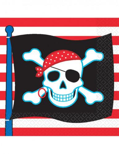 16 Serviettes en papier drapeau pirate 33 x 33 cm