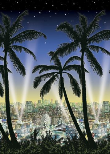 Décoration murale ville et palmier
