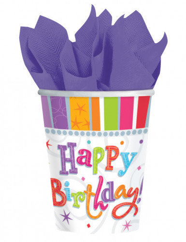 8 Gobelets en carton happy birthday 250 ml