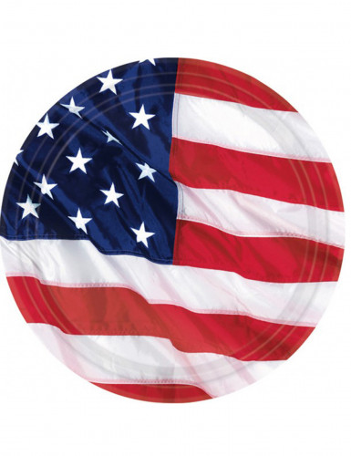 8 Assiettes drapeau américain 27cm