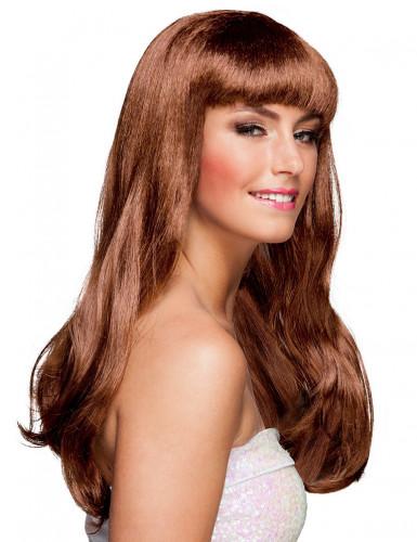 Perruque longue marron de star femme