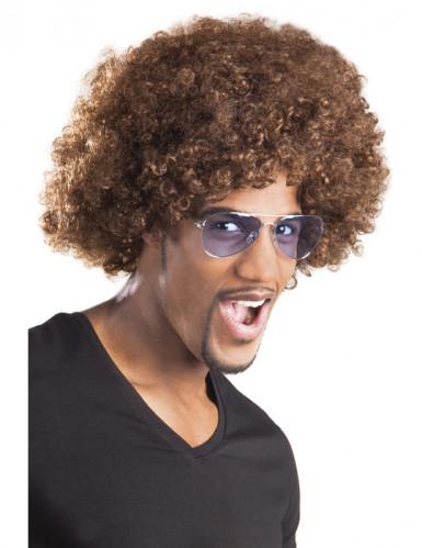 Perruque afro/ clown marron volume adulte