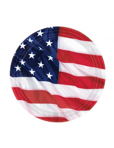 8 Assiettes drapeau américain