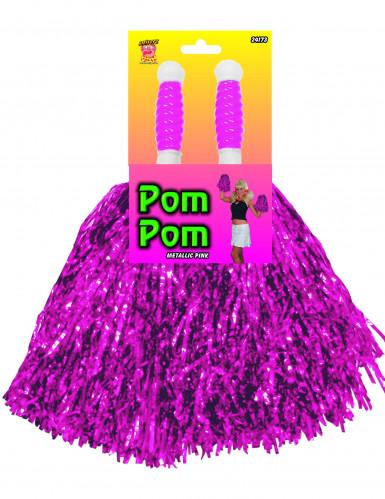 2 Pompons violets métallisés