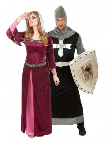 Déguisement de couple reine et chevalier médiéval