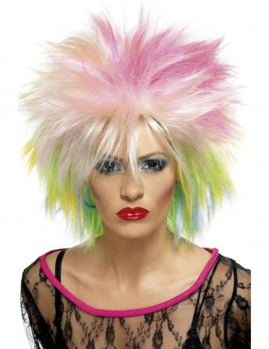 Perruque courte multicolore punk femme