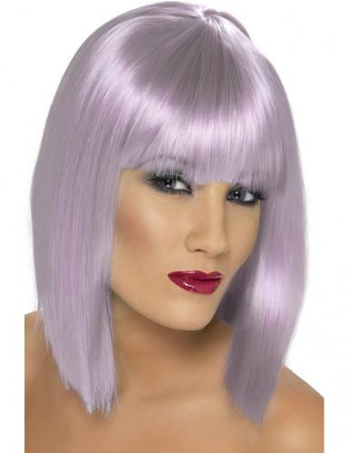 Perruque carré mi-long violette pâle femme
