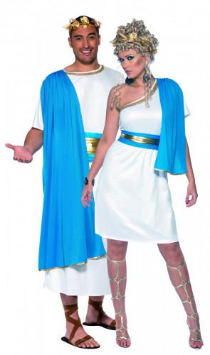 Déguisement de couple de romains bleus