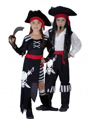 Déguisement couple pirates noirs et blancs enfants