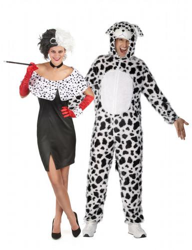 Déguisement couple Cruella et son dalmatien