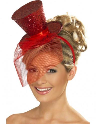 Mini chapeau haut de forme rouge femme