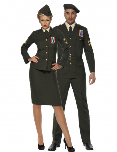 Déguisement de couple officiers militaires