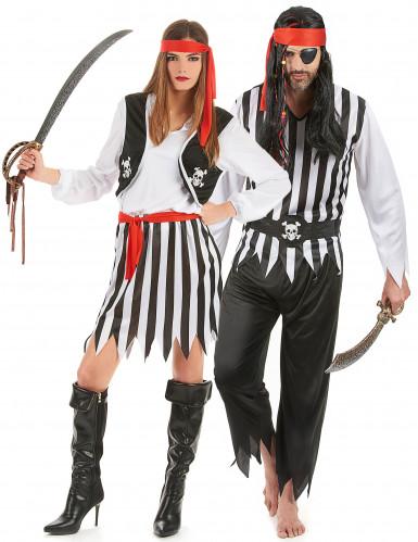 Déguisement de couple pirates rayés noirs et blancs