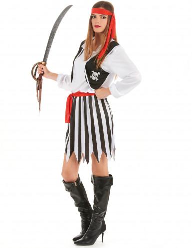 Déguisement couple pirates rayés noirs et blancs-2