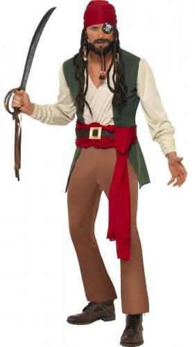 Déguisement pirate beige et vert homme