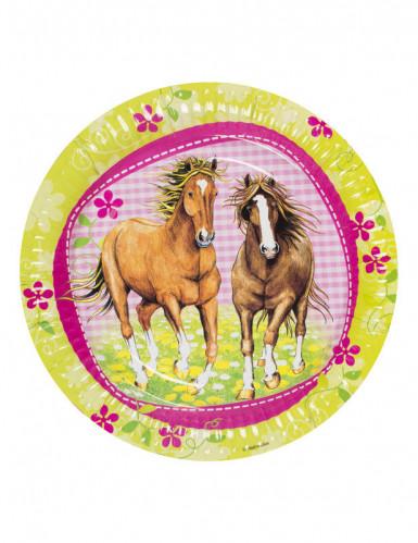 8 Assiettes en carton Chevaux 23 cm-2