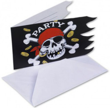 6 Cartons d'invitation Pirate