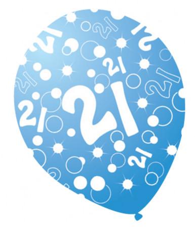 6 Ballons âges nacrés bleu