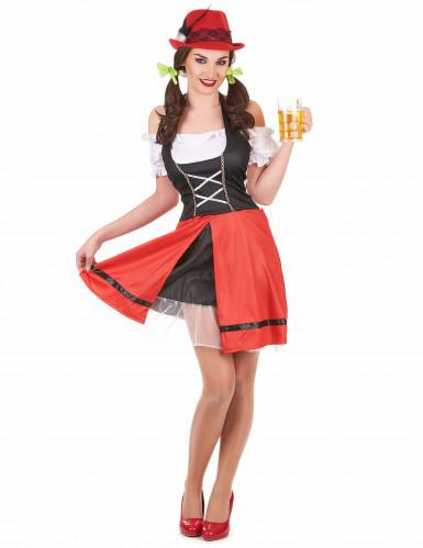 Déguisement bavaroise noire et rouge femme
