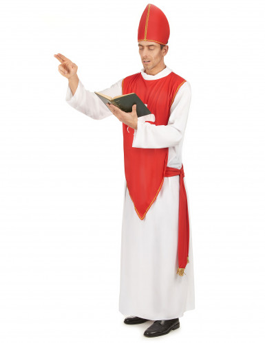 Déguisement cardinal rouge et blanc homme-1