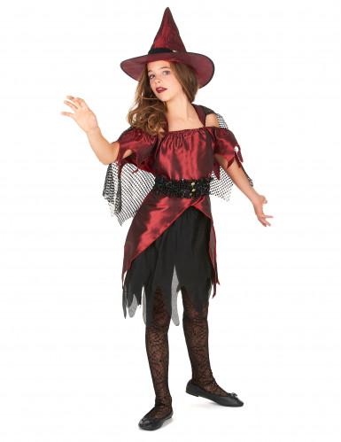 Déguisement sorcière rouge satiné fille Halloween-1