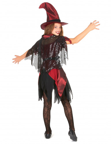 Déguisement sorcière rouge satiné fille Halloween-2
