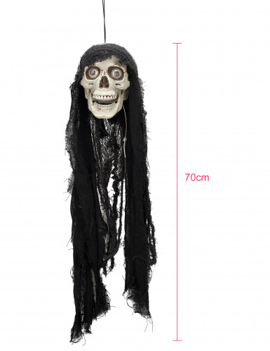 Décoration tête de mort animée lumineuse et sonore 70 cm-1