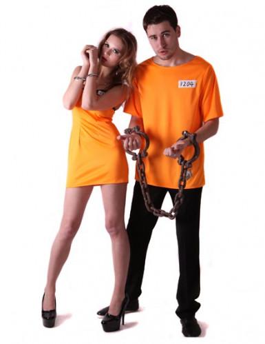 Déguisement couple prisonniers oranges