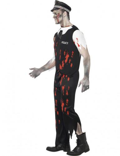Déguisement zombie sanglant policier homme-1
