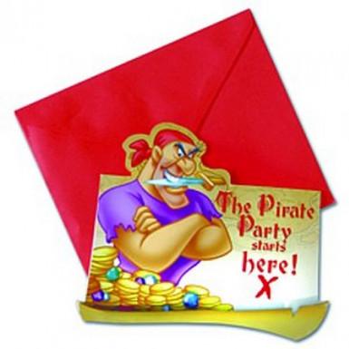 6 cartes d'invitation Disney Pirates™