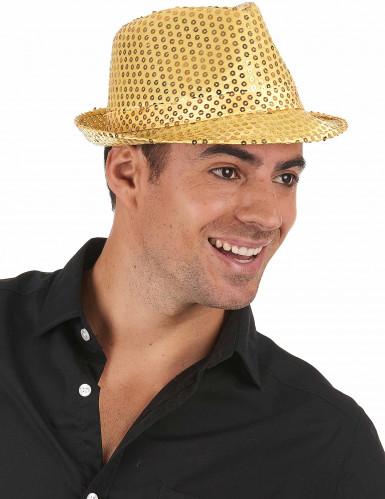Chapeau borsalino à sequins doré adulte-1