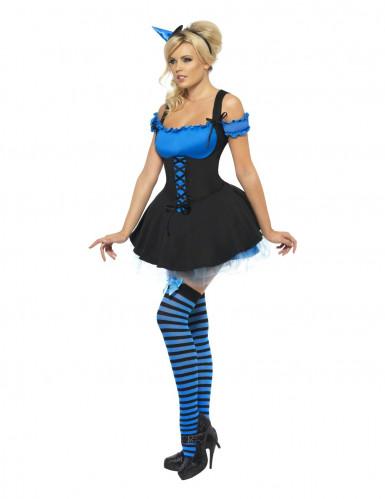 Déguisement sorcière sexy bleue femme Halloween-2