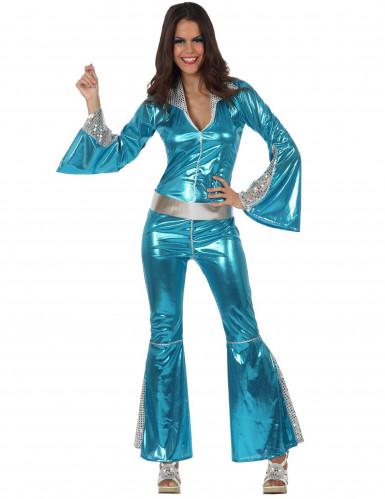 Déguisement disco bleu brillant femme