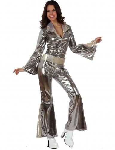 Déguisement disco argenté femme