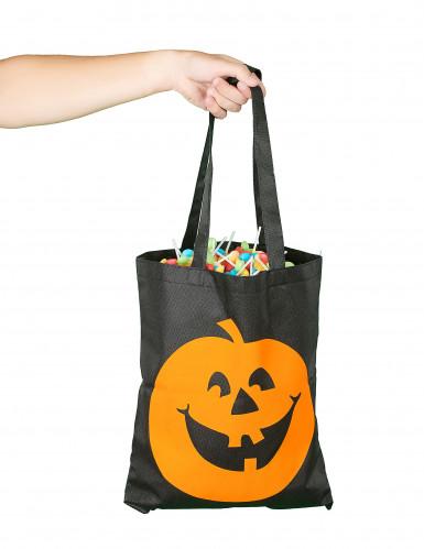 Sac à bonbons citrouille Halloween noir et orange-1