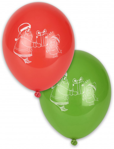 10 Ballons Noël rouges et verts 28 cm