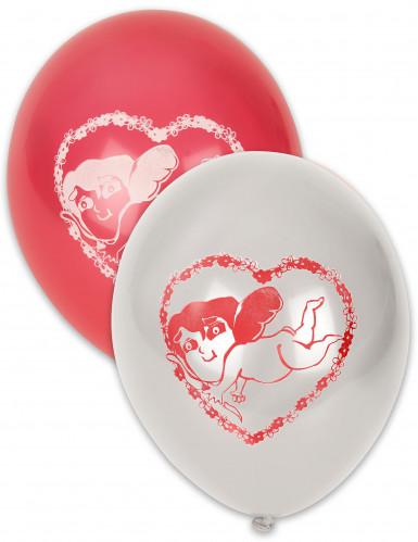 10 Ballons Saint Valentin blancs et rouges 30 cm
