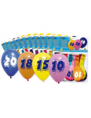 8 Ballons chiffre 50 multicolores 30 cm
