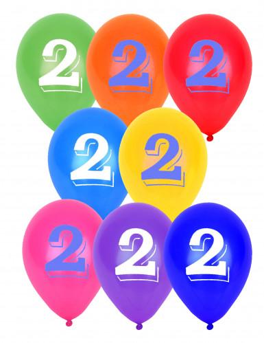 8 Ballons chiffre 2 multicolores 30 cm