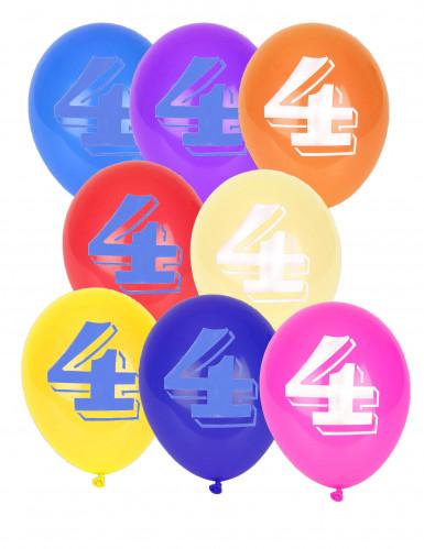 8 Ballons chiffre 4 multicolores 30 cm
