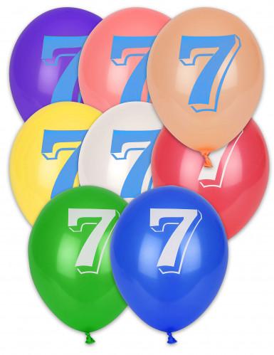 8 Ballons chiffre 7 multicolores 30 cm